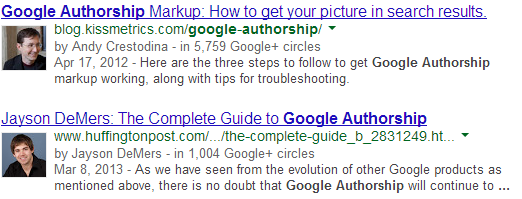 Google Authorship in SERPs