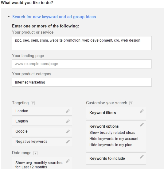 Google Adwords Keyword Planner settings