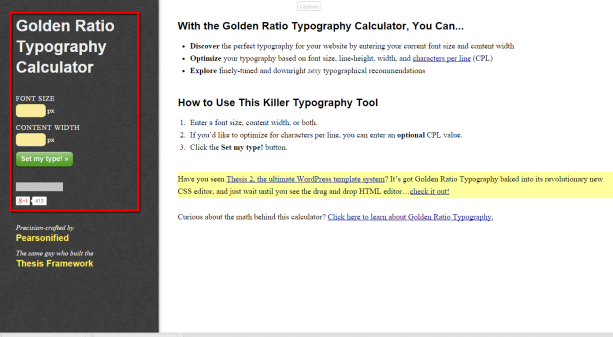 Chris Pearson's Golden Ratio Typography Calculator