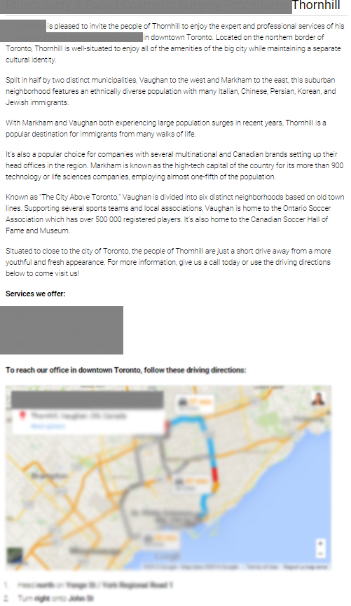 thornhill location page