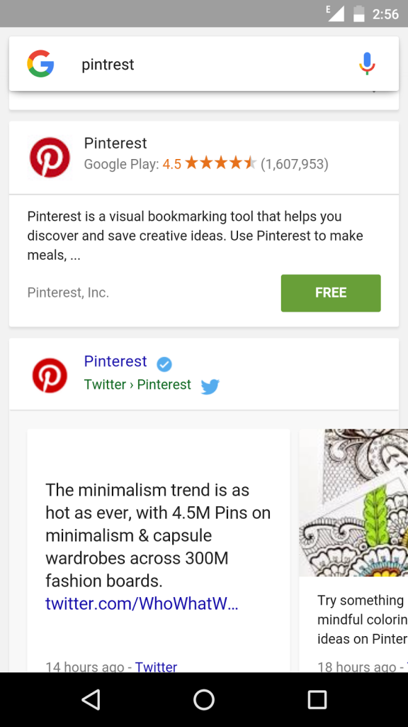 Pinterest App Appearing In Serps