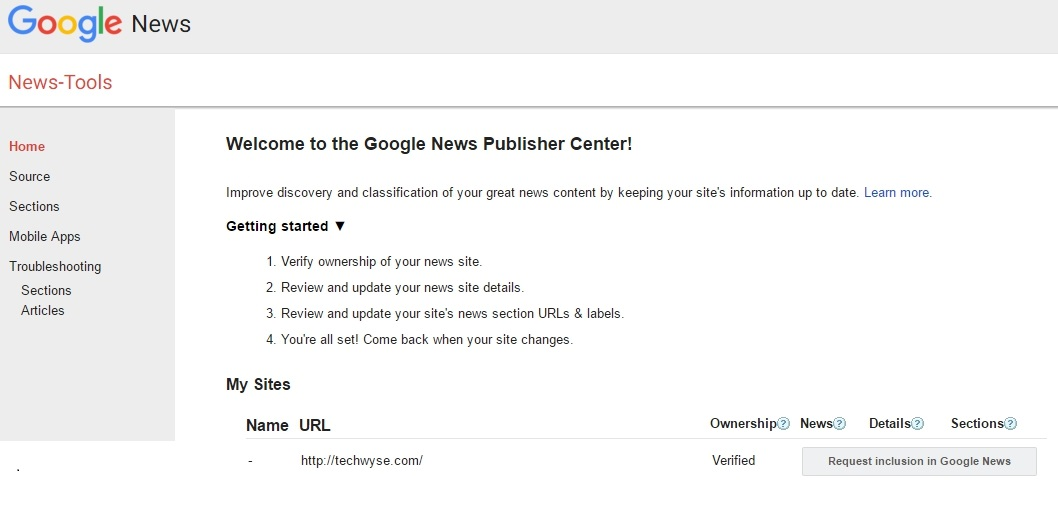 Google Publisher Center Screenshot