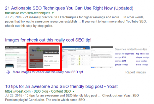 OCR text even shows in the SERP