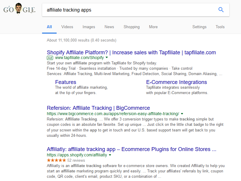 screenshot or serp result