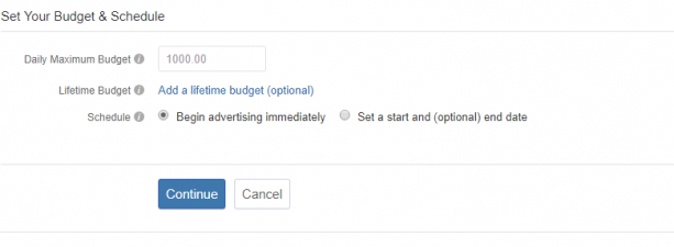 setting budget on quora ads manager