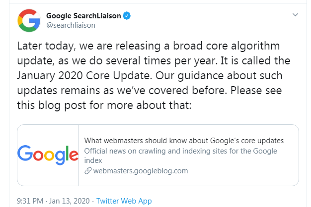 Google SearchLiaison account