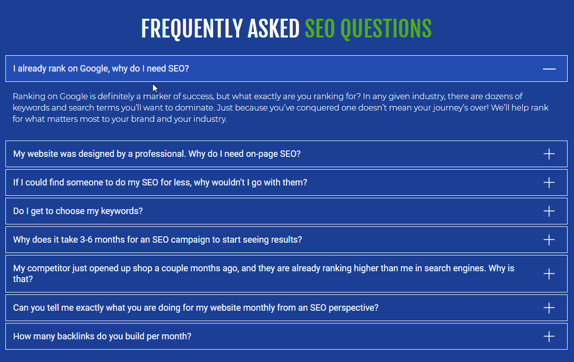 FAQ's Seo Questions