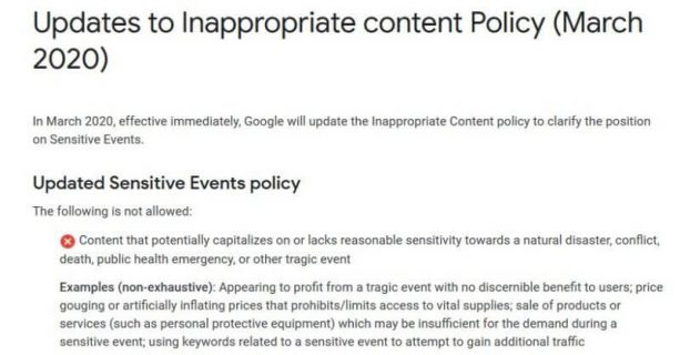 google-ads-inappropriate-content-policy-coronavirus